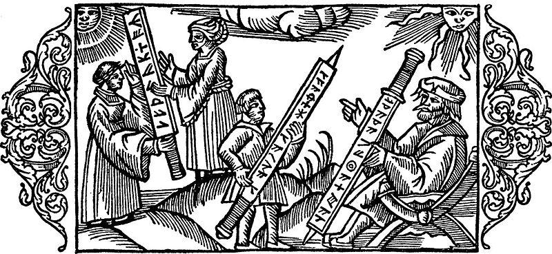Kinderen leren runen ritsen van hun ouders , afb.Olaus Magnus